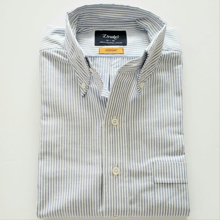 Drake's Blue & White Stripe Oxford Button Down.