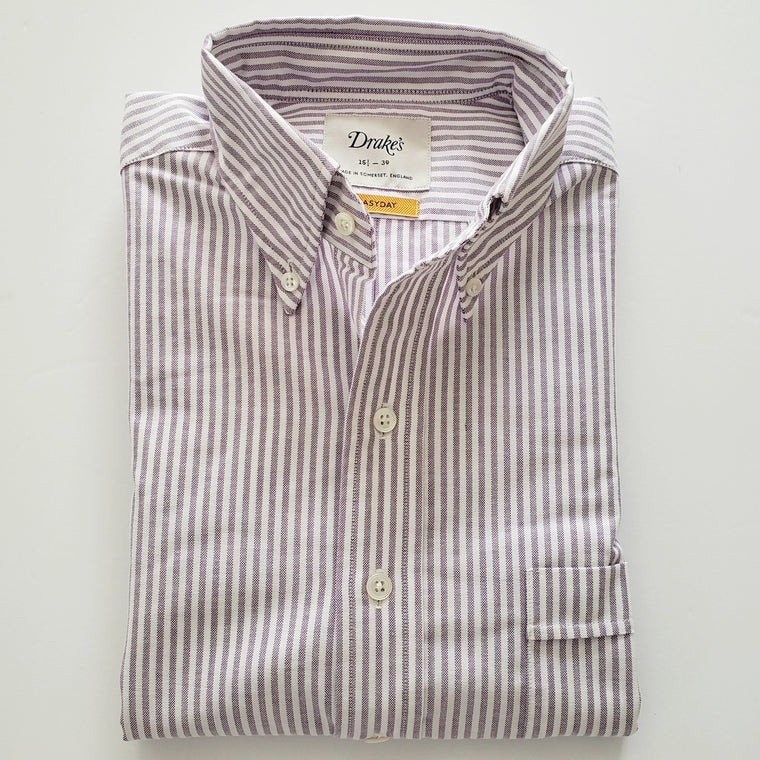 Drake's Striped Slim Fit Button Down Oxford Shirt