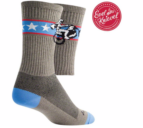 Evel Knievel Wheelie Crew Sock Guy Socks