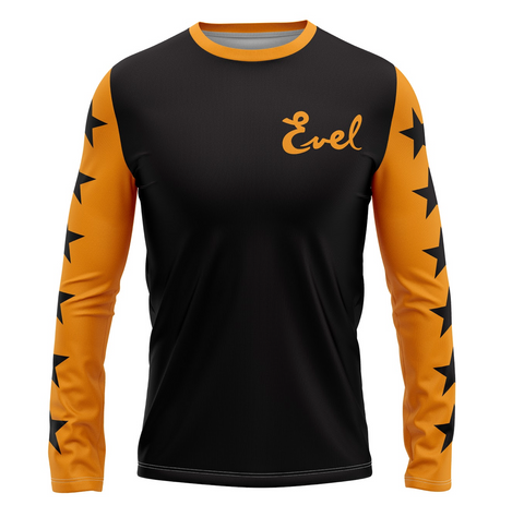 Evel Knievel Yellow/Black Motorcycle Daredevil Long Sleeve