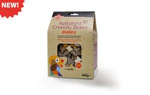 PUPPY CRUNCHY BONES WHEAT BISCUITS WITH LAMB AND CHICKEN MIXED WITH ANIMAL FATS AND MINERALS