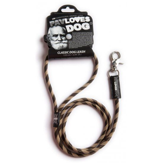 Original Lanyards Dog leash Pav Loves Dog Brown 120cm - Epetshopcy