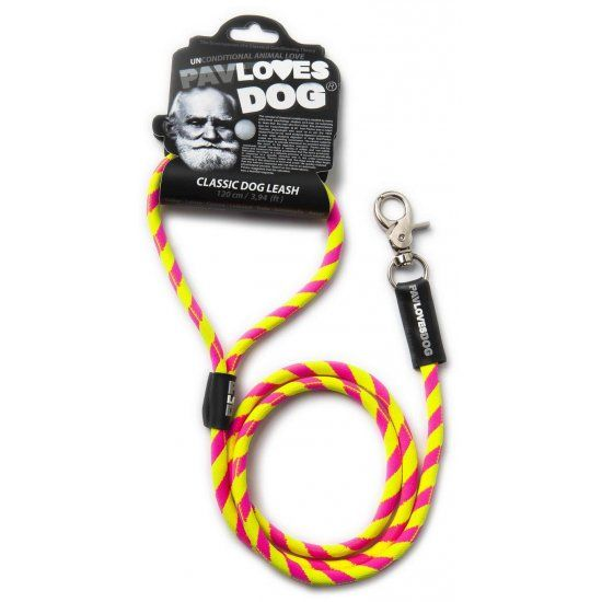 Original Lanyards Dog leash Pav Loves Dog Yellow & Pink 120cm - Epetshopcy