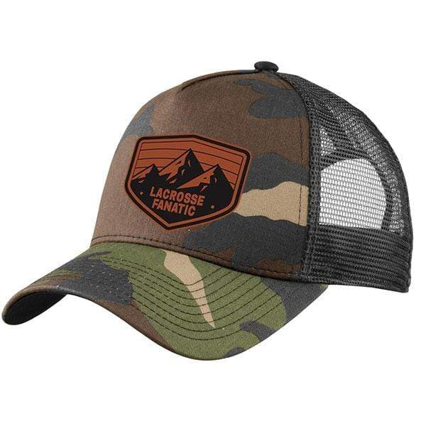 Lacrosse Fanatic hats OS / Camo/Black New Era Premium Baseball Cap - Camo and Black with Leather Adventure Patch from Lacrosse Fanatic