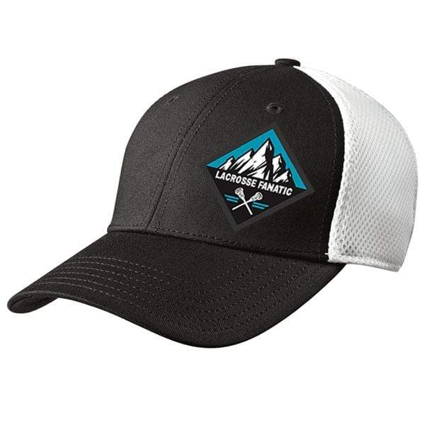 Lacrosse Fanatic hats L/XL / Navy Blue New Era Premium Fitted Baseball Cap - Black/White with Crossed Sticks/Mountain Patch from Lacrosse Fanatic
