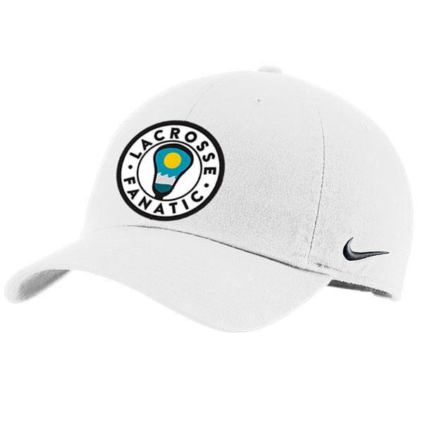 Lacrosse Fanatic hats OS / White Nike Premium Baseball Cap - White with Lax Fan Seal Beach Patch from Lacrosse Fanatic