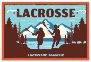 Lacrosse Fanatic Lacrosse Accessories Girl and Boy Playing Lacrosse at Mountain Lake Sticker from Lacrosse Fanatic