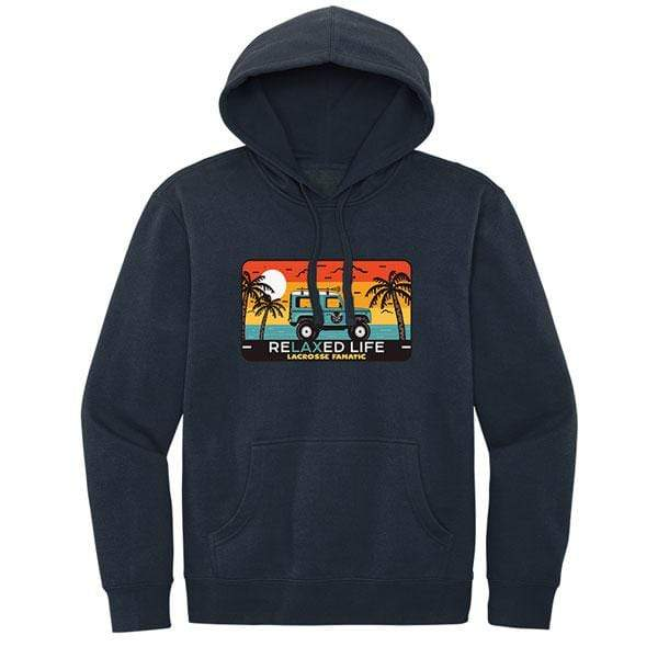 Lacrosse Fanatic Shirts Lax Fan Original Hoodie - Navy with ReLaxed Life Jeep Graphic from Lacrosse Fanatic