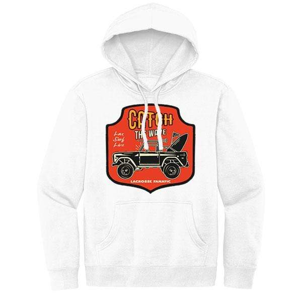 Lacrosse Fanatic Shirts Lax Fan Original Hoodie - White with Catch the Wave Graphic from Lacrosse Fanatic