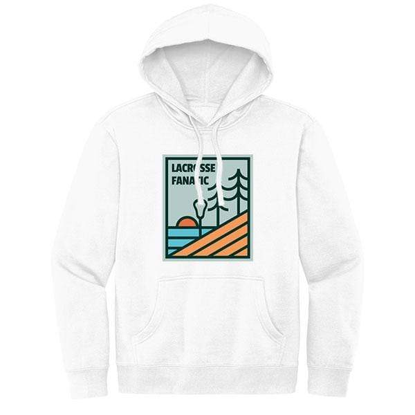 Lacrosse Fanatic Shirts Lax Fan Original Hoodie - White with Stick with the Trees Graphic from Lacrosse Fanatic