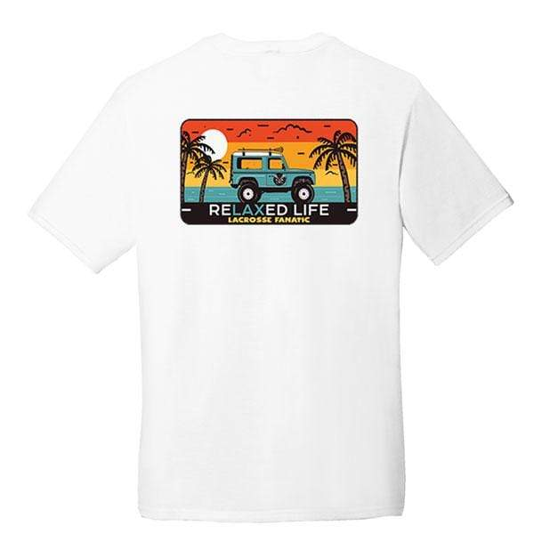 Lacrosse Fanatic Shirts Lax Fan Original T-Shirt - White with ReLaxed Life Jeep Graphic - Front/Back from Lacrosse Fanatic