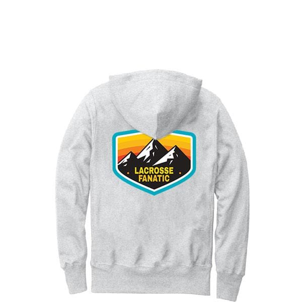 Lacrosse Fanatic Shirts Lax Fan Premium Champion Hoodie - Ash Grey with Lacrosse Adventure Graphic from Lacrosse Fanatic