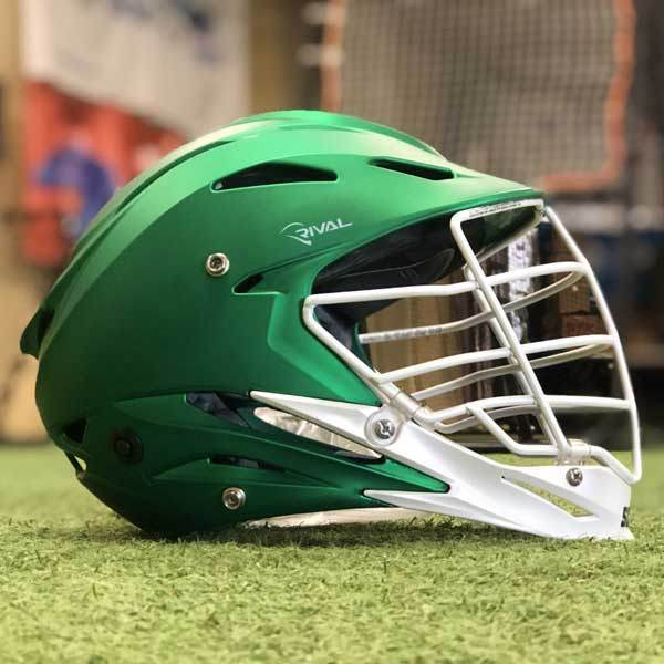 STX Rival Lacrosse Helmet - Custom Gloss Green w/ White Facemask