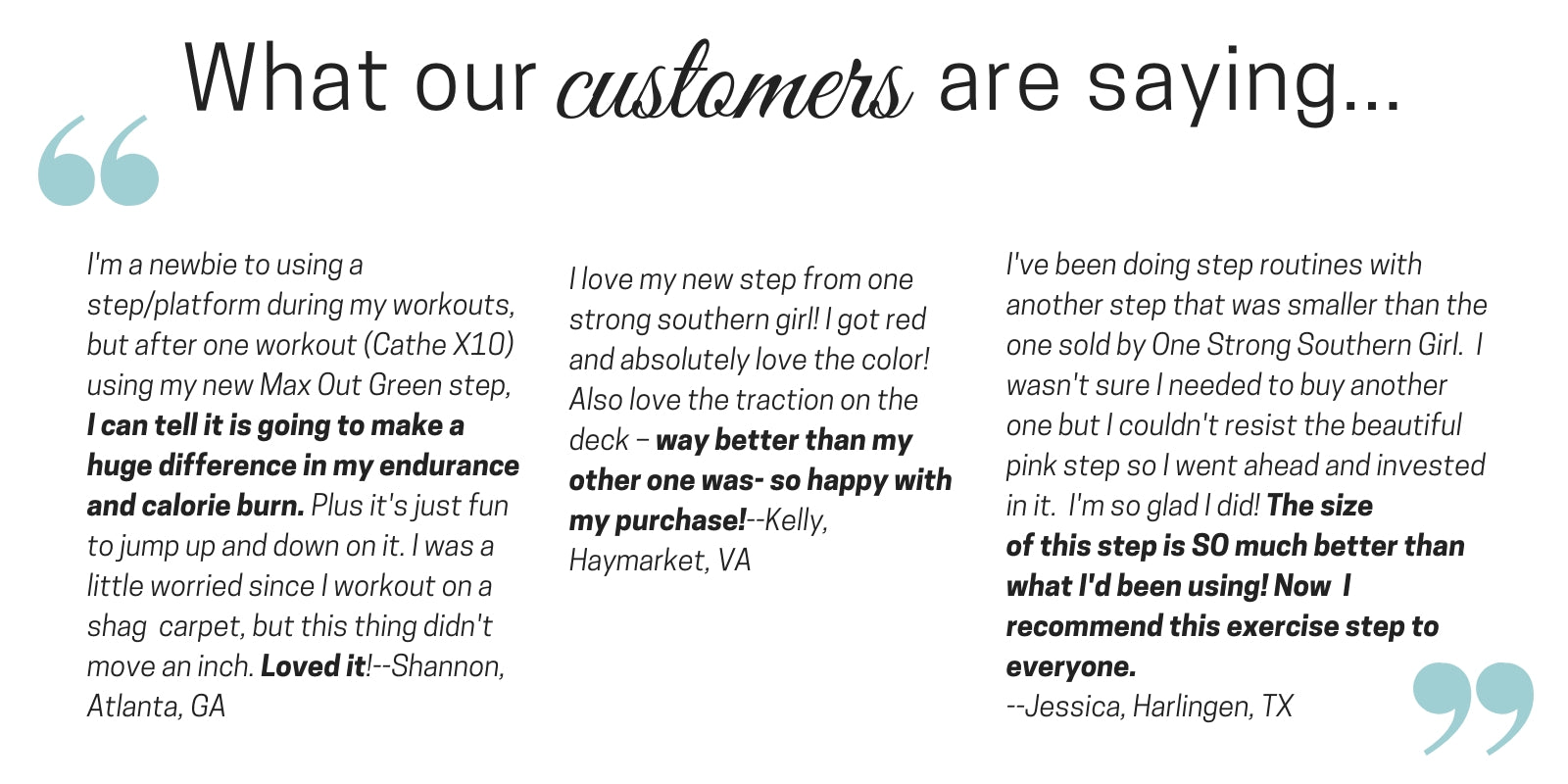 what customers say about our aerobic step