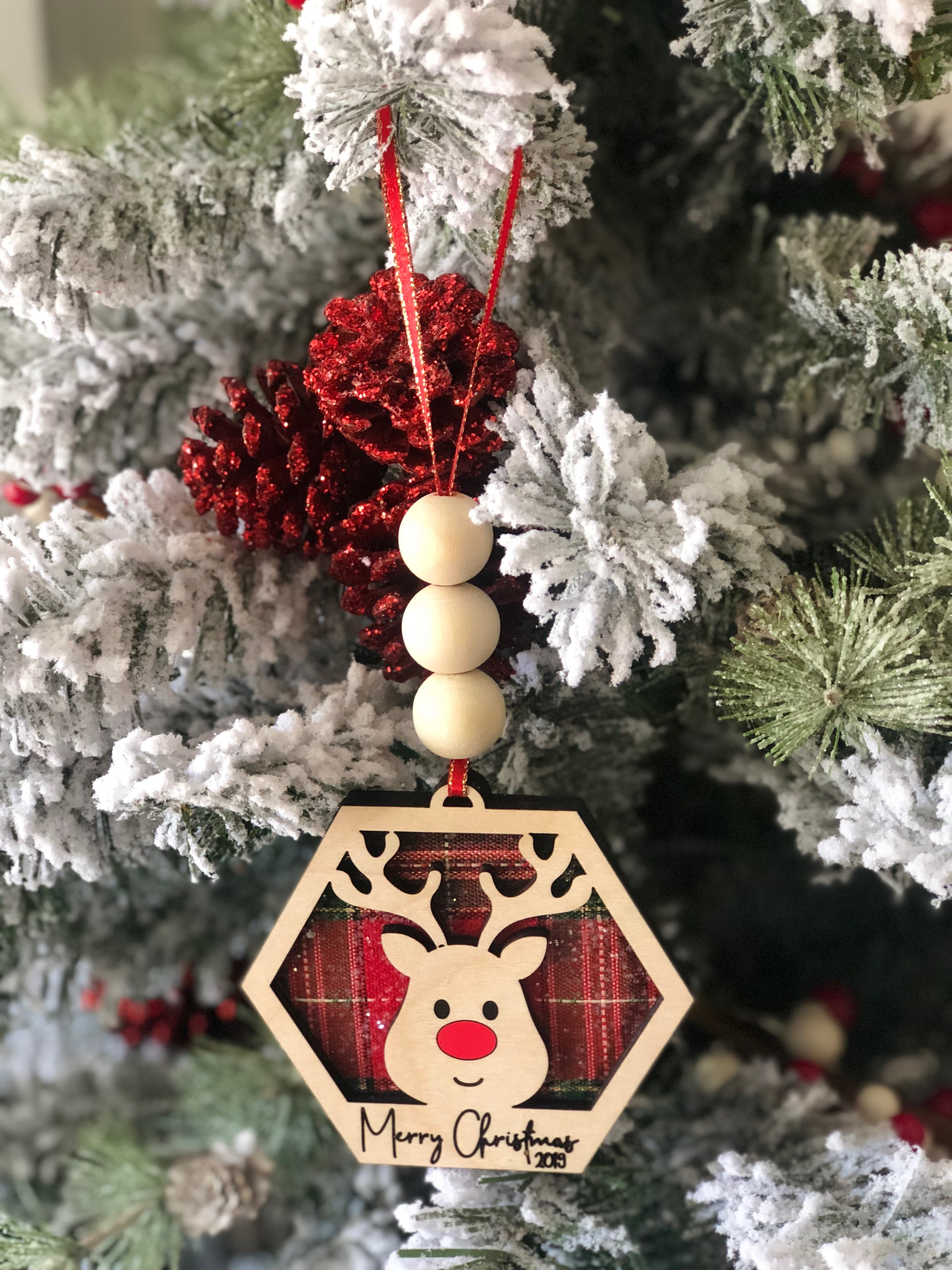 Reindeer Hexagon Ornament