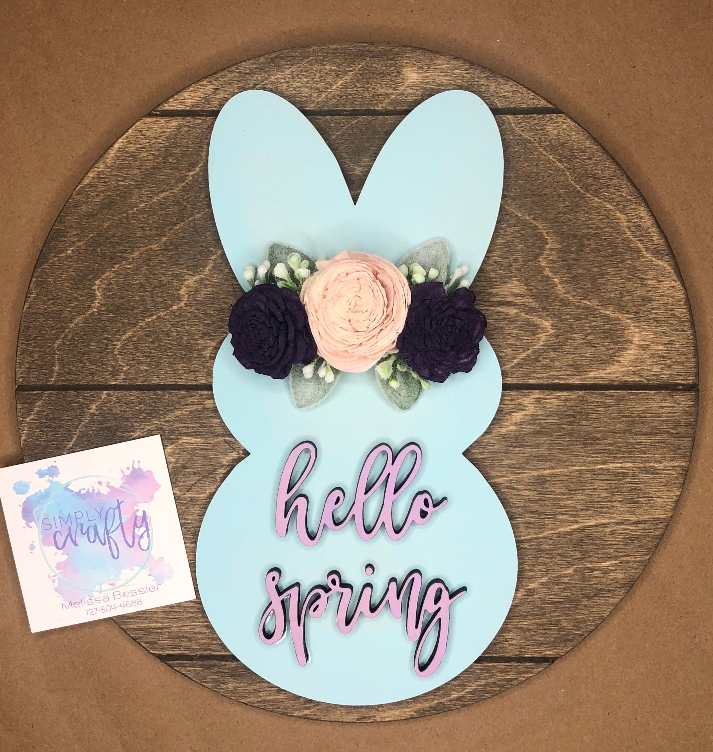"10"" Bunny Silhouette with Wood Flowers"
