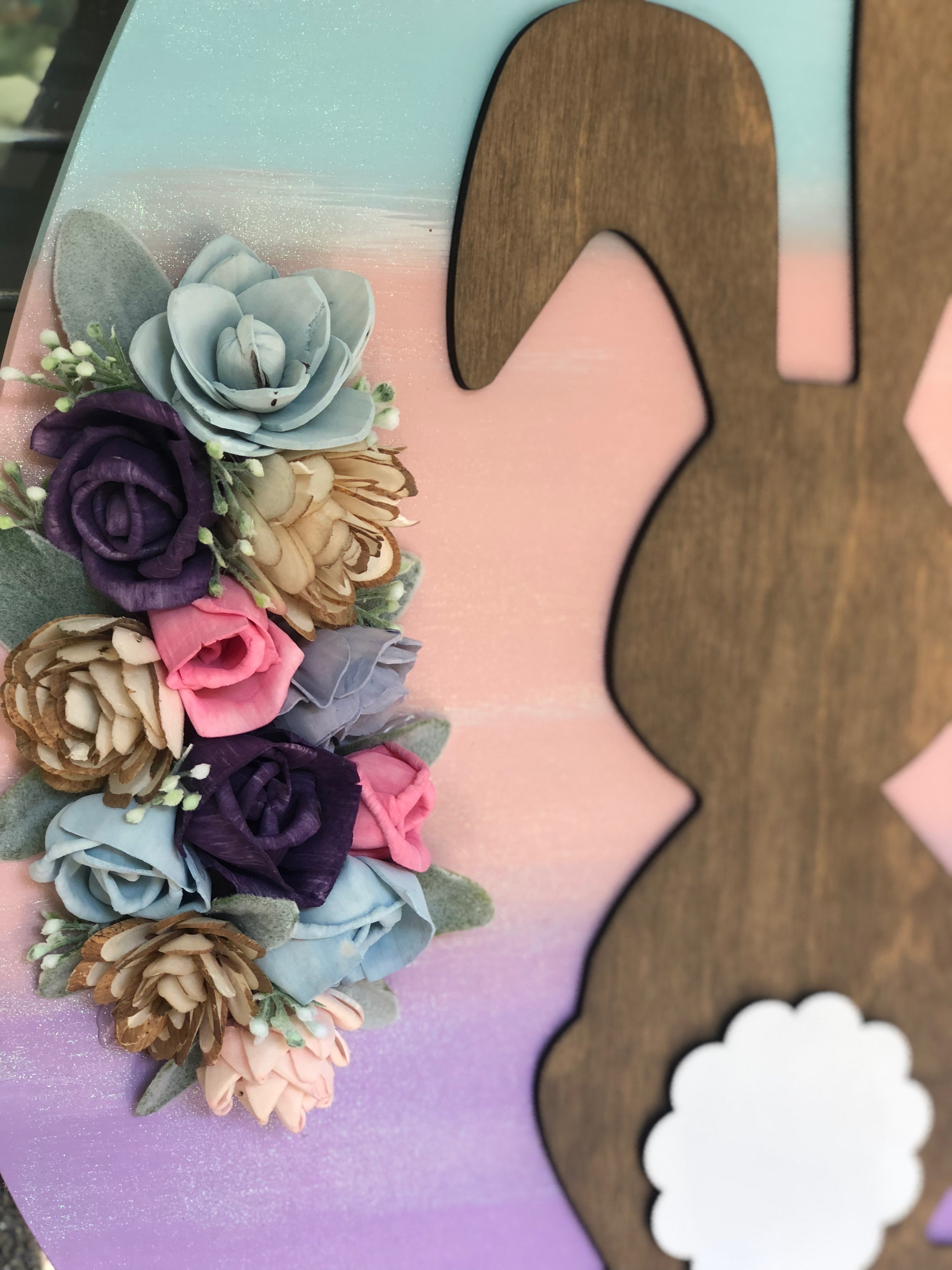 Bunny Egg Door Hanger with Wood Flowers Diy Kit