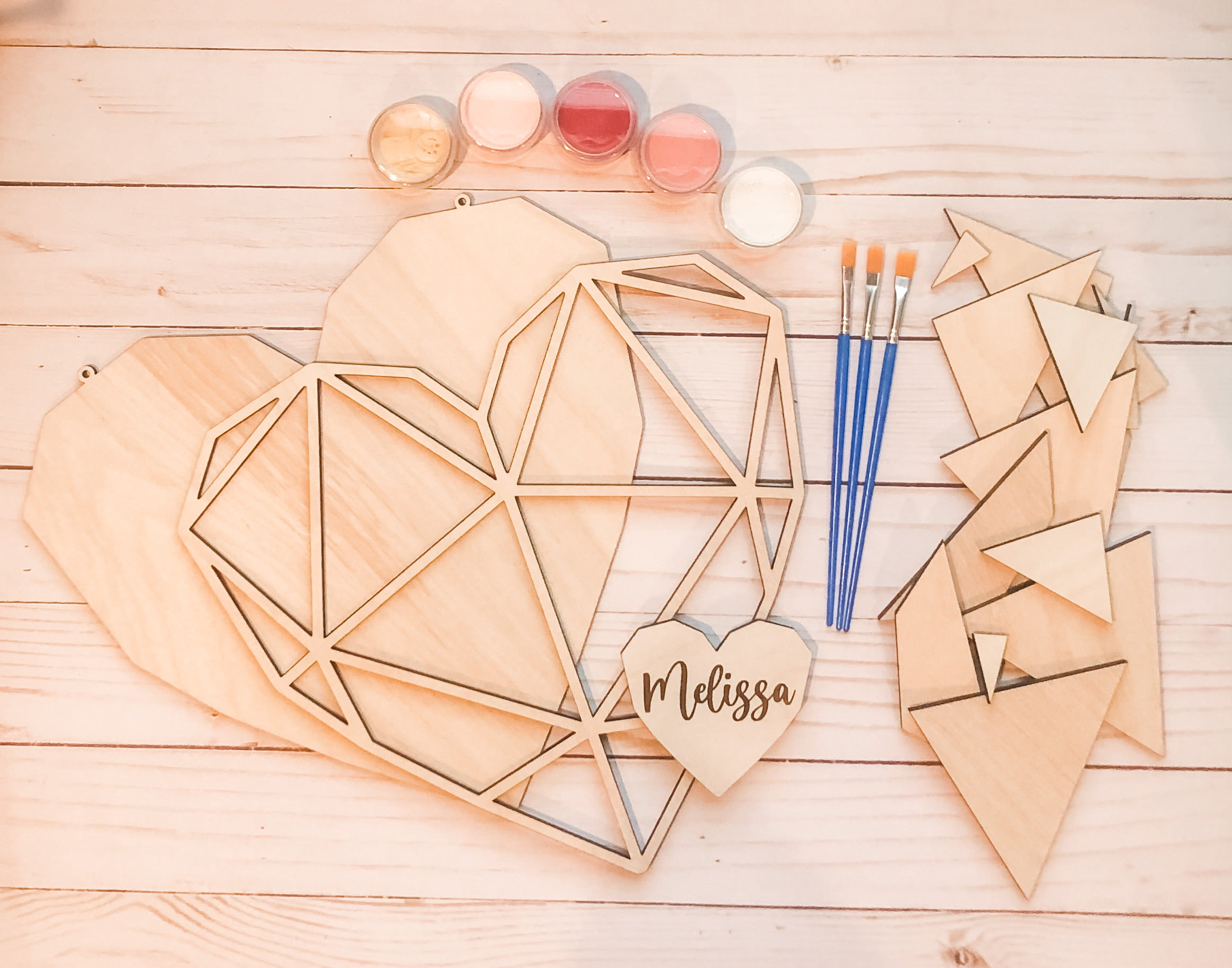 Geometric Valentines personalized Heart DIY Kit