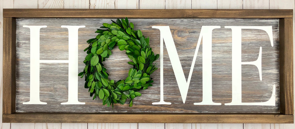 "6"" Preserved Boxwood Wreath Home Sign"