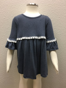 Washed Navy Baby Doll Top