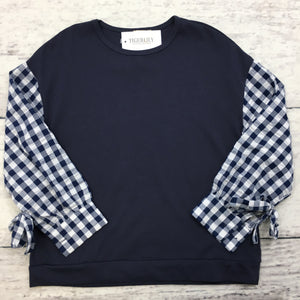Navy Checkered Tie Sleeve Top