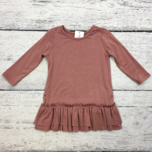 Rose Dark Long Sleeve Ruffle Toddler Tunic Top