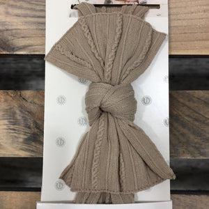 Taupe Cable Knit Knot Bow