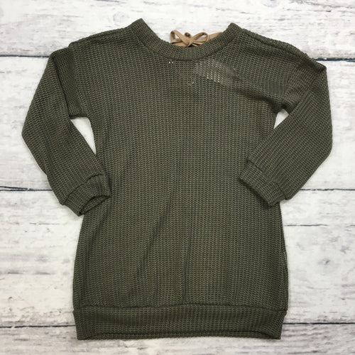 Olive Sweater with Suede String