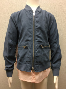 Dusty Blue Double Zipper Bomber Jacket