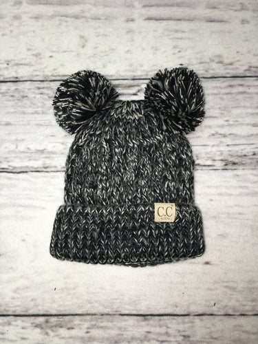 Black Double Pom Beanie
