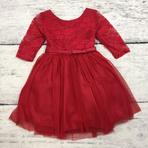 Red 3/4 Sleeve Lace with Tulle Skirt Dress