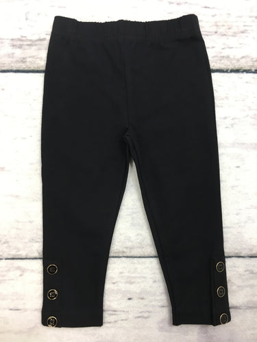 Black Spandex Jersey Leggings with Buttons
