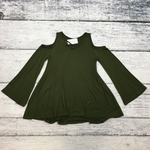 Olive Tween Double Cross Cold Shoulder Top