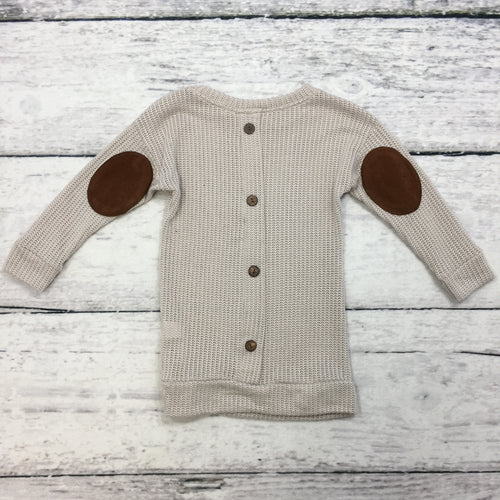 Taupe Sweater with Back Buttons