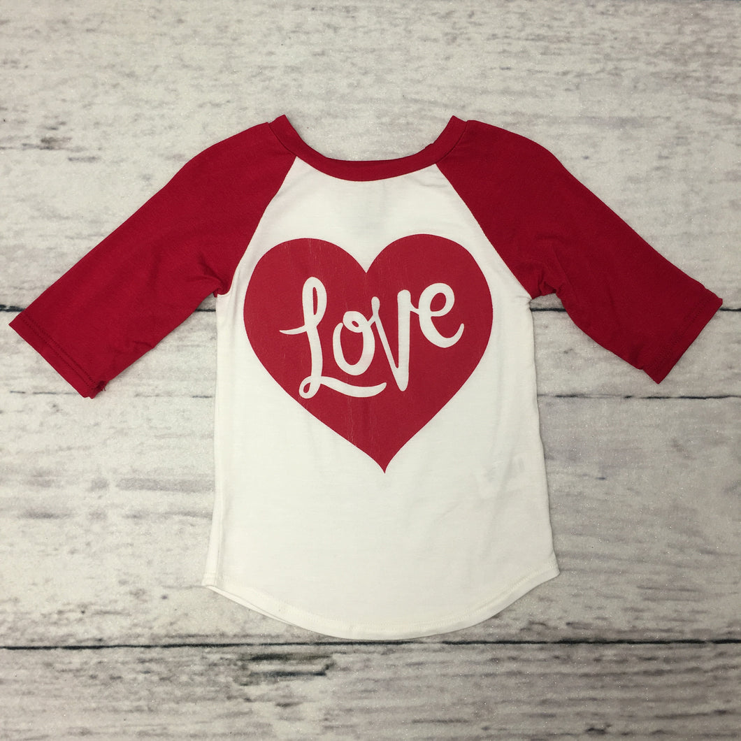 Red Love Baseball Top