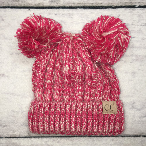 Hot Pink Double Pom Beanie