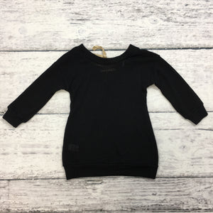 Black Sweater with Suede Strings