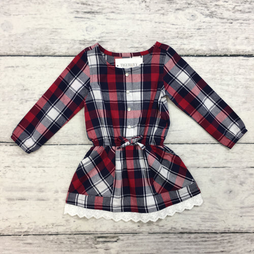 Red Plaid Flannel Dress with Lace Trim
