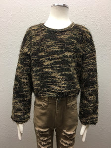 Camo Distressed Sweater Top