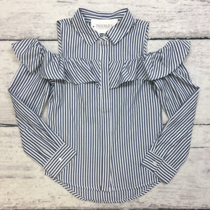 Blue Stripe Frill Cold Shoulder Button Up