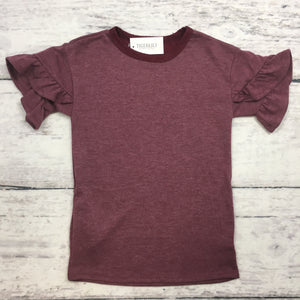 Burgundy Flutter Sleeve Top
