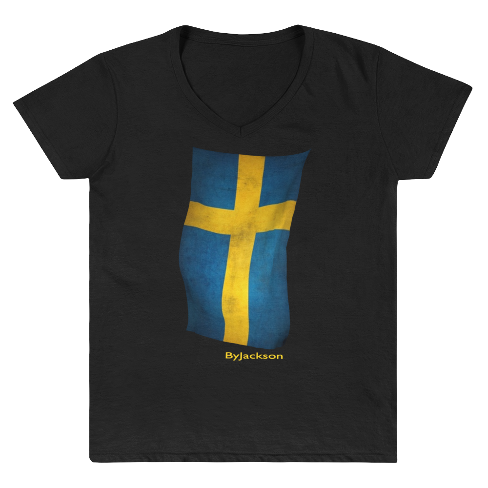 Swedish Flag Women's Casual V-Neck Shirt ByJackson