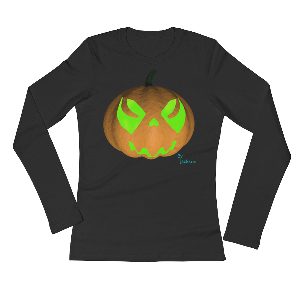 Spooky Pumpkin Ladies Long Sleeve Tee Shirt ByJackson - ByJackson