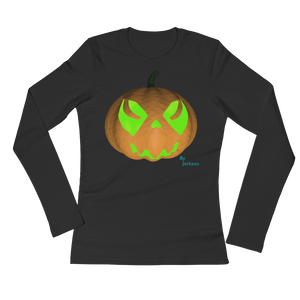 Spooky Pumpkin Ladies Long Sleeve Tee Shirt ByJackson