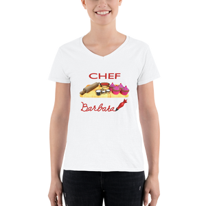 Customize the name Pastry Chef Women's Casual V-Neck Shirt ByJackson