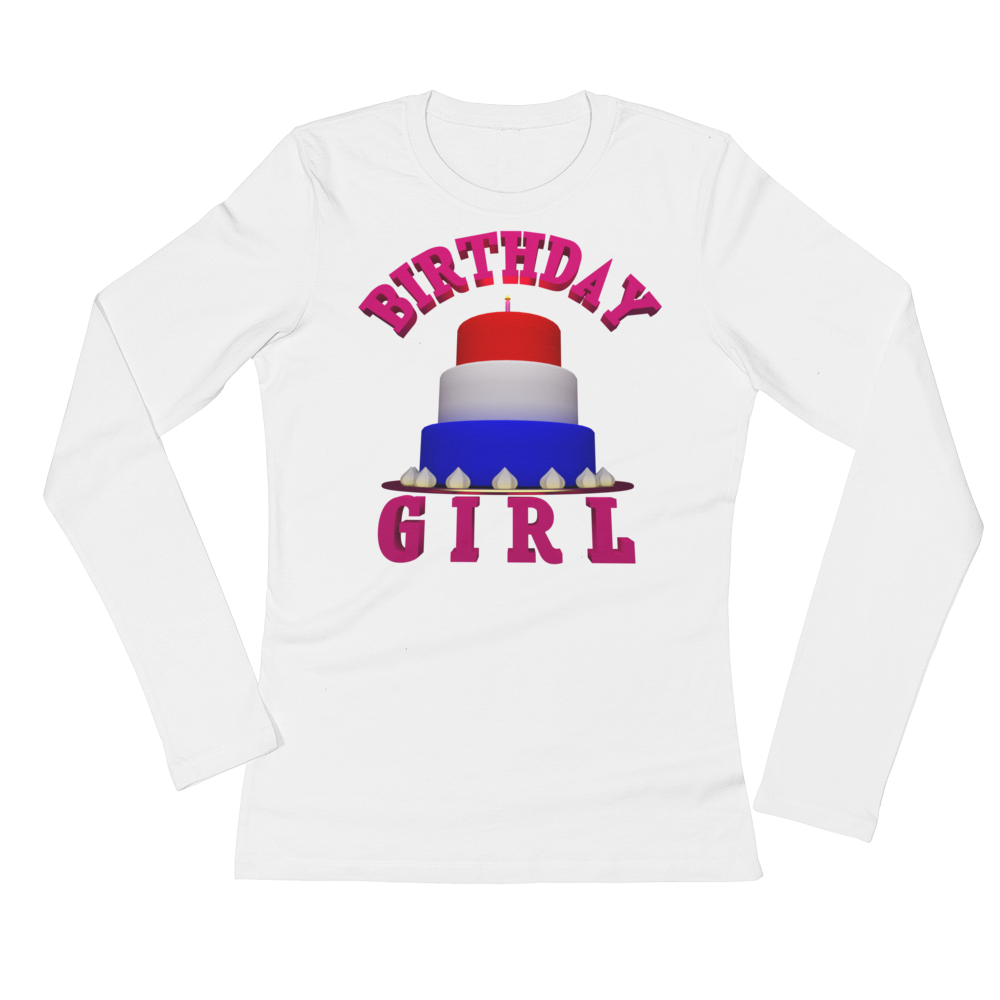 HAPPY BIRTHDAY GIRL Adult Ladies Long Sleeve Tee Shirt ByJackson - ByJackson