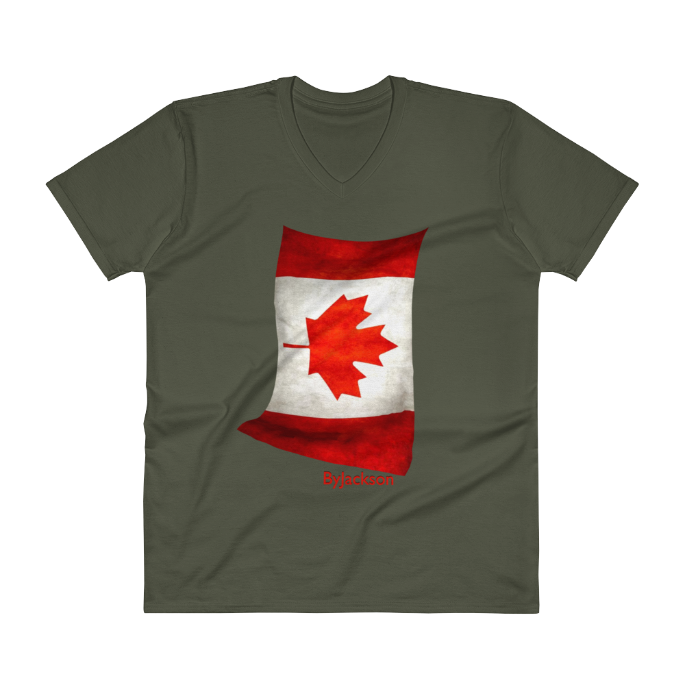 Canadian Flag V-Neck T-Shirt ByJackson