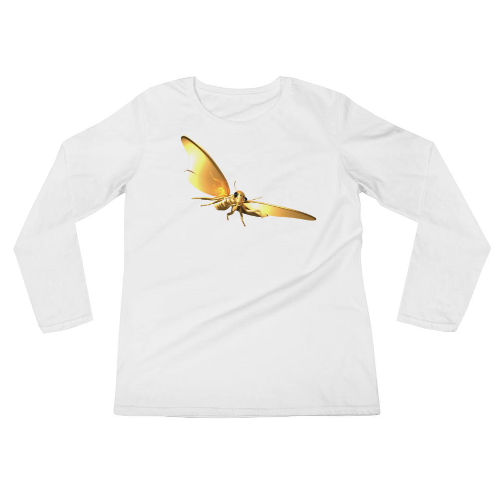 Golden Butterfly Ladies' Long Sleeve Tee Shirt ByJackson - ByJackson