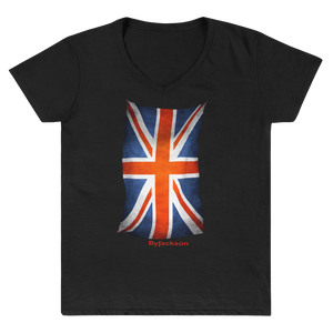 United Kingdom Flag Women's Casual V-Neck Shirt ByJackson