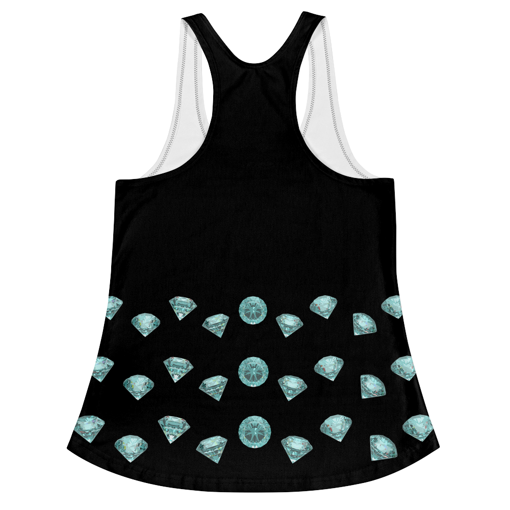 Blue Diamond Girl Racerback Tank (Front&Back) ByJackson